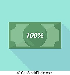 Long shadow bank note with the text 100% - Illustration of a...