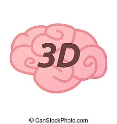 Isolated brain icon with    the text 3D