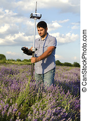 Land surveying in a lavender field