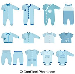 Vector icons of baby clothes for boys.