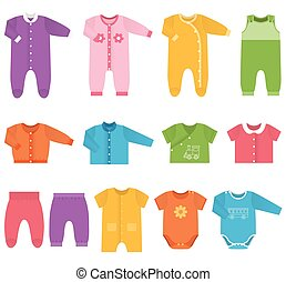 Vector icons of baby clothes.