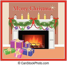 Merry Christmas card. - Decorated festive fireplace with fir...