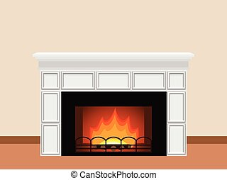 Fireplace with firewood. - White fireplace with fire and...