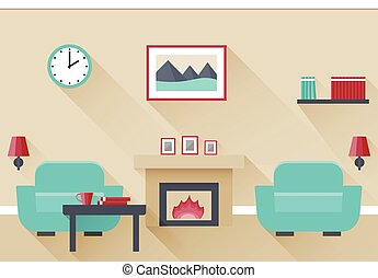 Flat interior living room. - Interior of living room with...