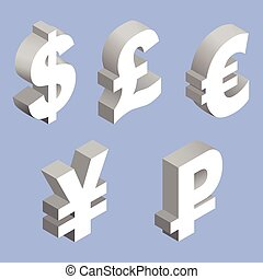 Charset world currencies. - Isometric set of currency...