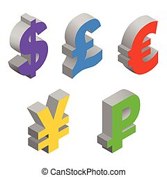 Charset world currencies. - Isometric set icons of currency...