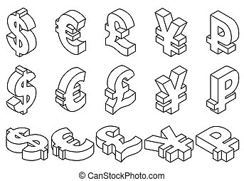 Line icons charset world currencies. - Isometric set black...