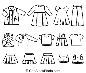 Vector line icons of baby clothes for girls. - Set of line...