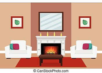 Living room interior with fireplace.
