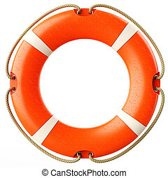 Red lifebuoy ring front isolated on white background 3d