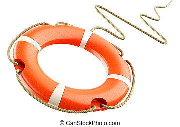 Red lifebuoy rope - Red lifebuoy ring, rope isolated on...