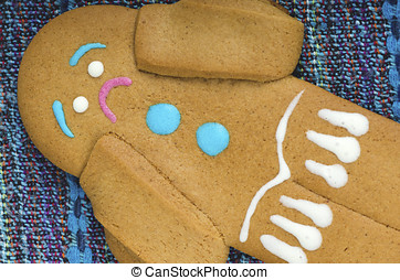 Anxious gingerbread man on a table