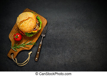 Fast Food Burger with Copy Space