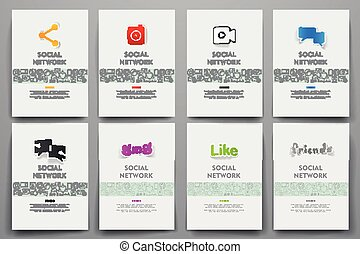 Corporate identity vector templates set with doodles social...