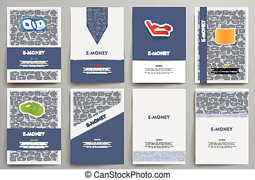 Corporate identity vector templates set with doodles e-money...