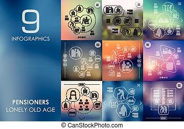 pensioners infographic with unfocused background -...