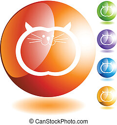 Fat Cat web button isolated on a background.