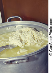 Traditional cheese making in Albanian village Lepushe