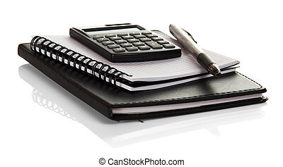 Notebook, blank pages for notes, calculator and pen...