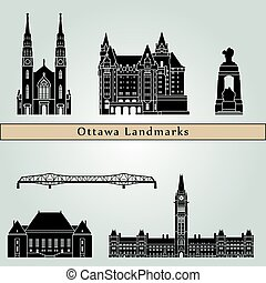 Ottawa V2 landmarks and monuments isolated on blue...
