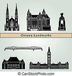 Ottawa V2 landmarks and monuments isolated on blue...