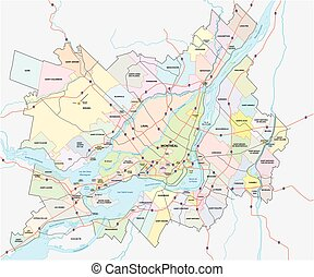 greater montreal map - greater montreal vector map