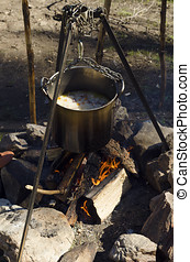 Camping fire with casserole