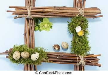 Easter frame with quail eggs