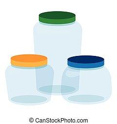 Three, Glass Jars Bottles Empty Transparent.