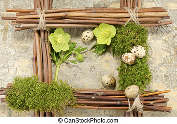 Easter frame with vintage background and five boiled quail...