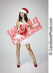 Glamorous woman with red Christmas banner