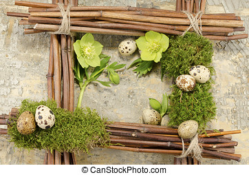 Easter frame with vintage background and seven boiled quail...