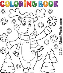 Coloring book stylized Christmas deer - eps10 vector...