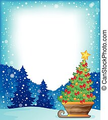 Frame with Christmas tree on sledge - eps10 vector...
