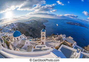 Old Town of Thira on the island Santorini, famous church...