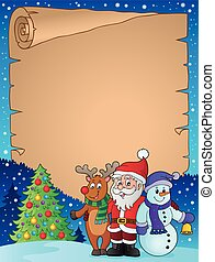 Christmas characters theme parchment 1 - eps10 vector...