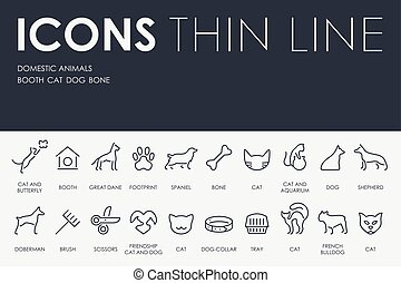 Domestic Animals Thin Line Icons - Thin Stroke Line Icons of...