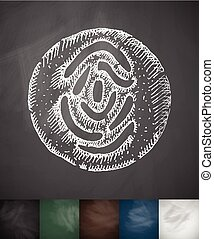 fingerprint in the circle icon. Hand drawn vector...