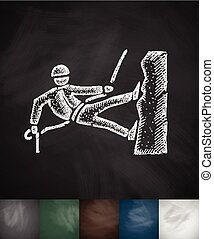 mountaineer icon. Hand drawn vector illustration. Chalkboard...