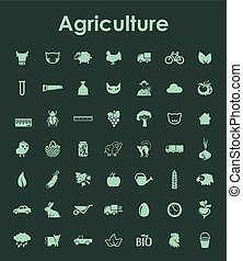 Set of agriculture simple icons
