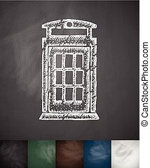 phone booth icon. Hand drawn vector illustration. Chalkboard...