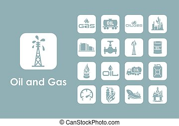 Set of oil and gas simple icons