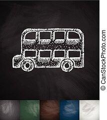 bus icon. Hand drawn vector illustration. Chalkboard Design