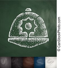 headdress icon. Hand drawn vector illustration. Chalkboard...