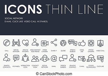 Social Network Thin Line Icons - Thin Stroke Line Icons of...