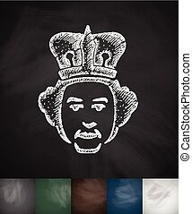queen icon. Hand drawn vector illustration. Chalkboard...