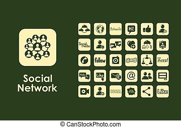 Set of social network simple icons - It is a set of social...