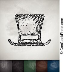 cylinder hat icon. Hand drawn vector illustration....