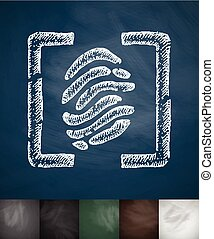 fingerprint icon. Hand drawn vector illustration. Chalkboard...
