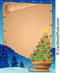 Parchment with Christmas tree on sledge - eps10 vector...
